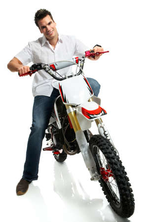 Young  biker man. Isolated over white background