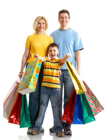 Family shopping. Isolated over white background  photo