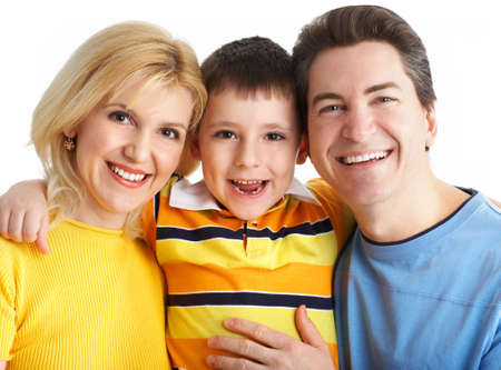 Happy family. Father, mother and boy. Over white background Stock Photo - 2796031