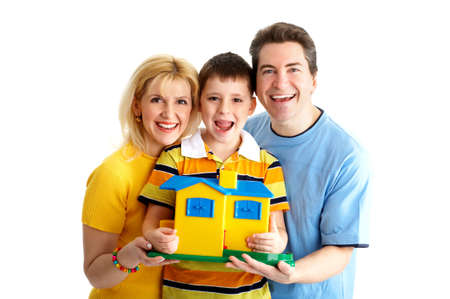 settler: Happy family. Father, mother and boy. Over white background