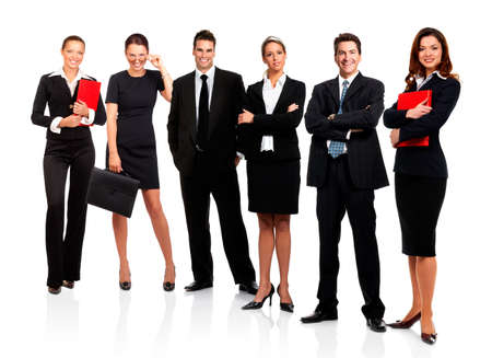 teamworking: Business people and team. Isolated over white background