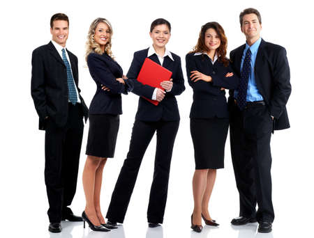 people: Young smiling  business people. Isolated over white background