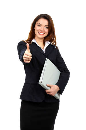 Friendly smiling businesswoman. Isolated over white background Stock Photo - 2807053