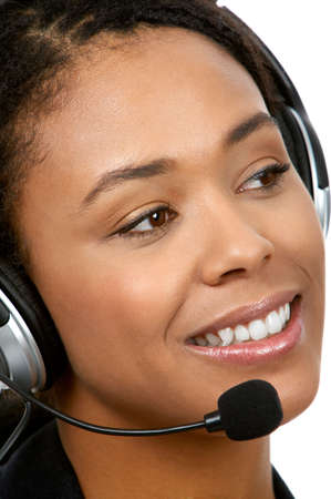 customer service representative: Smiling pretty business woman with headset. Over white background  Stock Photo