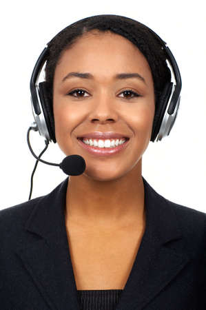 customer service representative: Smiling pretty business woman with headset.