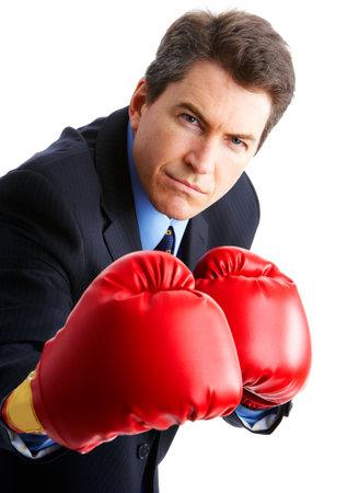 emulation: Handsome businessman boxer.  Isolated over white background