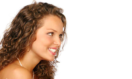 Beautiful young woman face. Isolated over white background  photo
