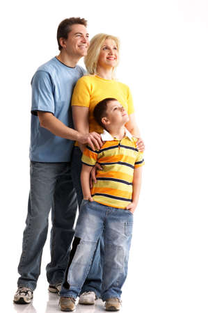 Happy family. Father, mother and boy over white  photo
