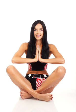 Woman in yoga. Isolated over white background photo