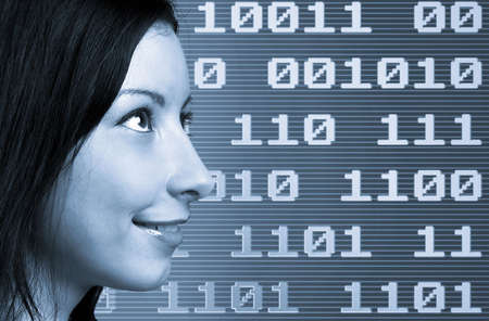 Woman face over a binary  techno background photo