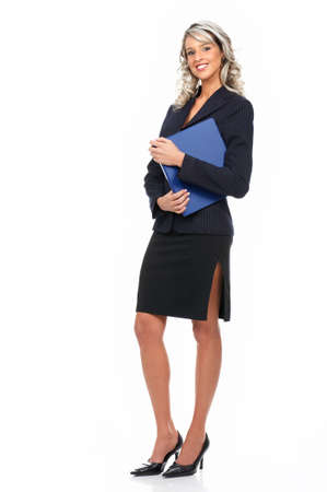 sexy businesswoman: Young smiling  business woman. Isolated over white background