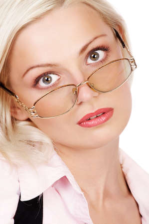 Young beautiful  businesswoman wearing glasses. Isolated over white. Stock Photo - 2851273