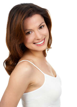 Happy woman smiling. Over white background  photo