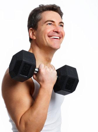 hombre fuerte: Sonriente joven hombre fuerte. Aisladas m�s de fondo blanco