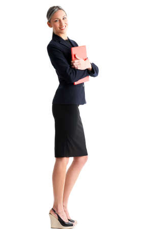of office: Young smiling  business woman. Isolated over white background