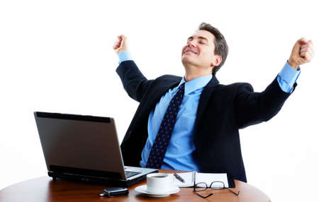 Businessman  working with laptop. Over white background Stock Photo - 2904292