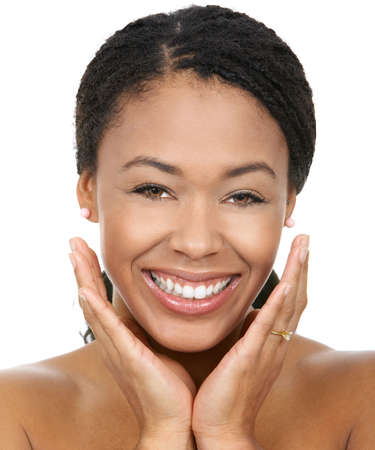 Smiling  young woman face with perfect  teeth.  Stock Photo