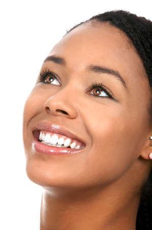 Smiling  young woman face with perfect  teeth.  photo