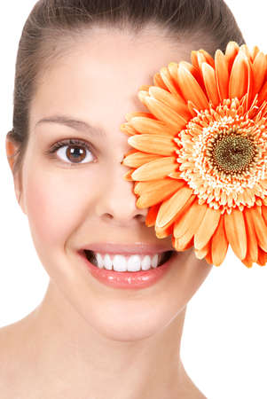 Beautiful young woman smiling with flower.  Isolated over white  background Stock Photo - 3042429