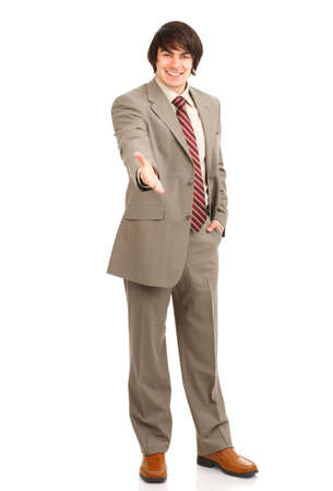 Friendly smiling businessman. Isolated over white background Stock Photo - 3091801