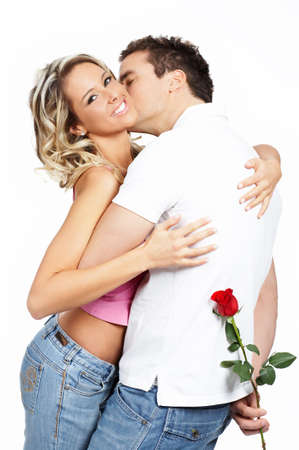 Young love couple smiling. Over white background Stock Photo - 3109895