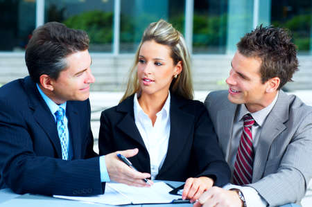 Business  meeting in the downtown. Businessmen and business woman
