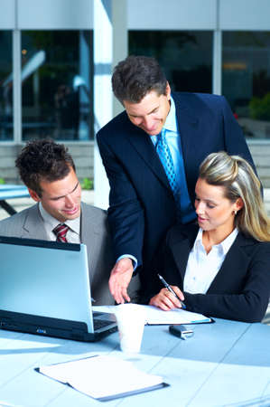 Business  meeting in the downtown. Businessmen and business woman Stock Photo - 3109890