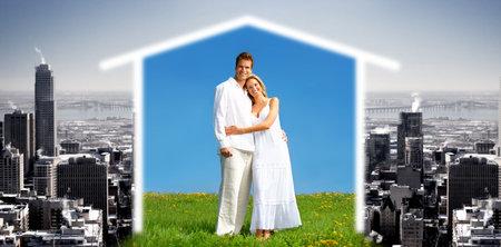 dangerous love: Young love couple smiling under blue sky.  Eco concept Stock Photo