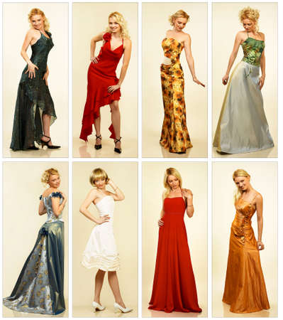 Collection of the woman evening dresses.   photo