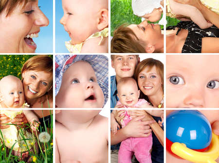 fair skinned: Happy fathe, mother  and innocent baby smiling  Stock Photo