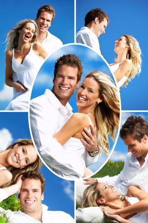 pareja abrazada: Amor joven pareja sonriente bajo cielo azul