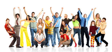 people  winning: Happy funny people. Isolated over white backgroundr Stock Photo