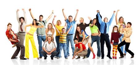 gente loca: Happy funny personas. Aisladas m�s de fondo blanco  Foto de archivo