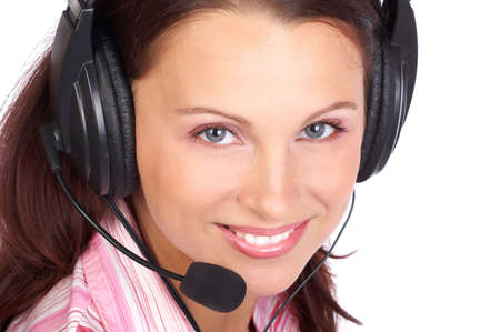 Beautiful  business woman with headset. Over white background Stock Photo - 3145416