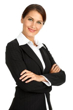 Lachend zakelijke vrouw. Geïsoleerde over witte achtergrond
