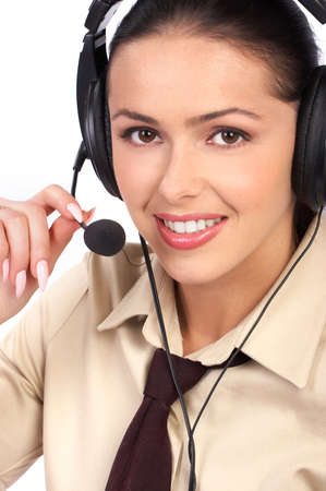 Beautiful  business woman with headset. Over white background Stock Photo - 3145428