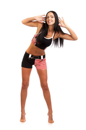 Fitness young woman doing exercise. Isolated over white background Stock Photo - 3145384