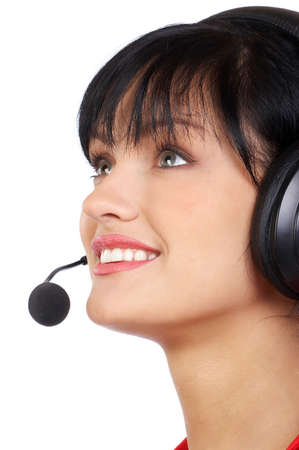 Beautiful  business woman with headset. Over white background Stock Photo - 3148911