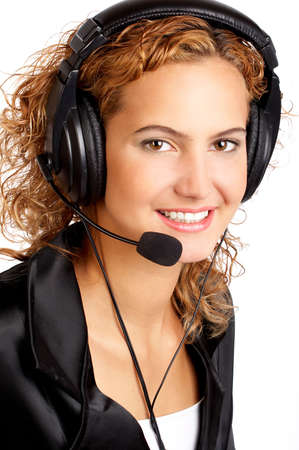 Beautiful  business woman with headset. Over white background Stock Photo - 3148900