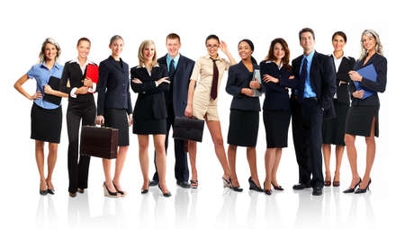 Large group of young smiling business people. Over white background Stock Photo - 3148907