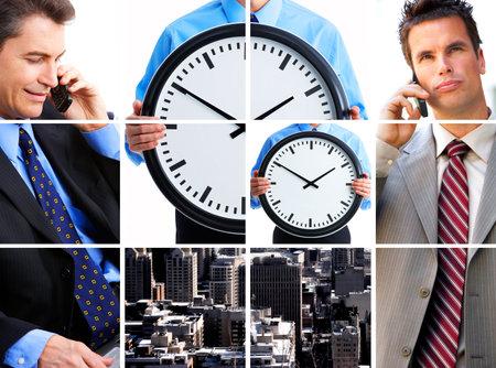 2 人のビジネスマンは、細胞を呼び出します。ビジネス会議 写真素材
