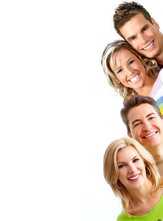 smile teeth: Young  people smiling. Over white background