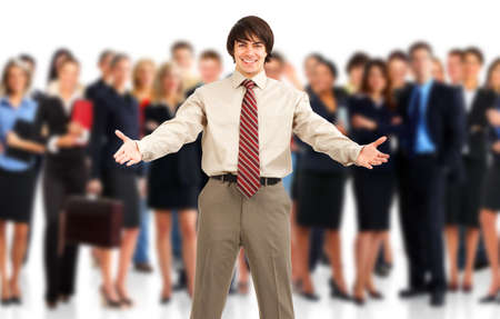 large: Businessman and a large group of young smiling business people. Over white background