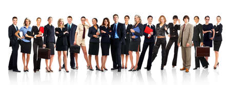 Large group of young smiling business people. Over white background