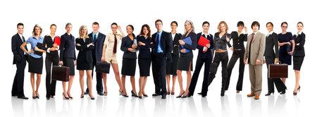 grote groep mensen: Grote groep van jonge lachende mensen uit het bedrijfsleven. Over witte achtergrond