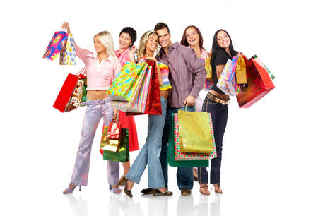 Shopping  smile people. Isolated over white background  photo