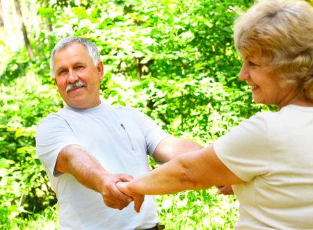 Smiling happy  elderly couple in love outdoor  Stock Photo - 3382473