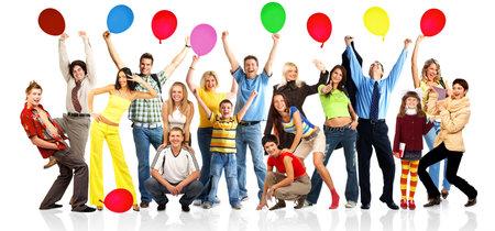 Happy funny mensen met ballen. Geïsoleerde over witte achtergrond