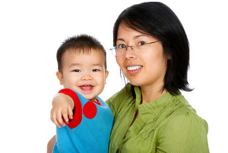Happy mother and smiling  innocent baby. Isolated over white background  photo