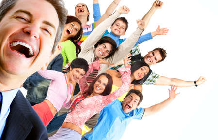 Young happy  people. Isolated ver white background  r photo